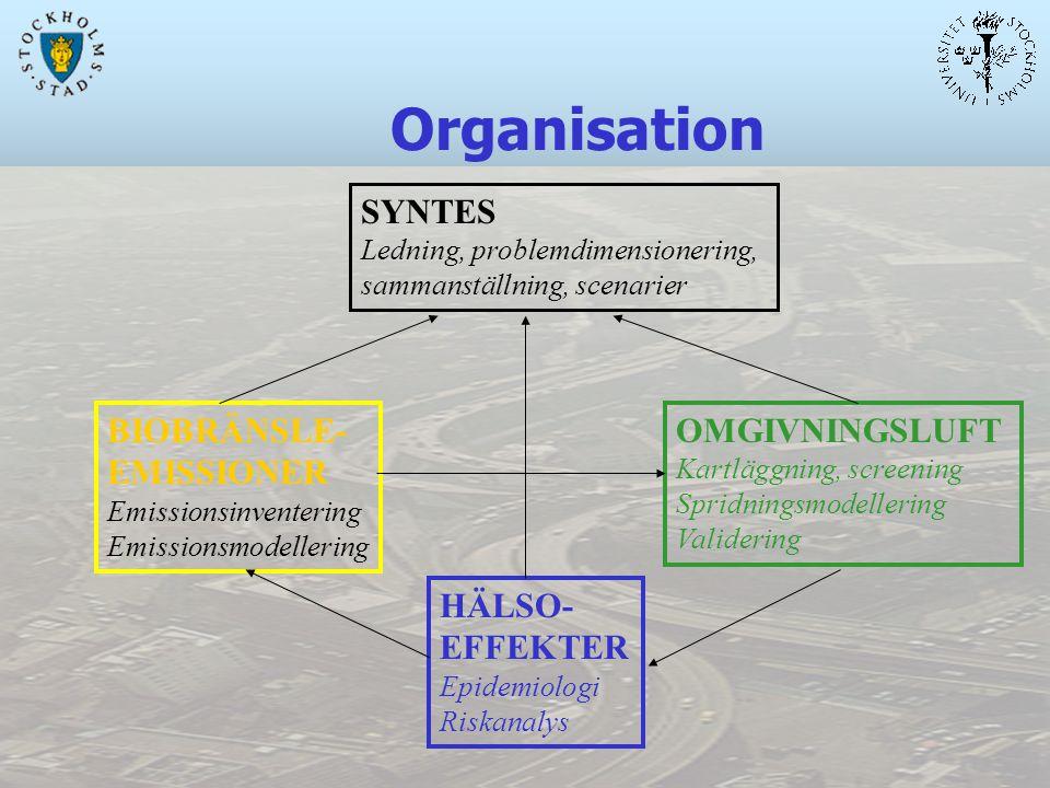 Organisation SYNTES Ledning, problemdimensionering, sammanställning, scenarier BIOBRÄNSLE- EMISSIONER Emissionsinventering Emissionsmodellering OMGIVNINGSLUFT Kartläggning, screening Spridningsmodellering Validering HÄLSO- EFFEKTER Epidemiologi Riskanalys