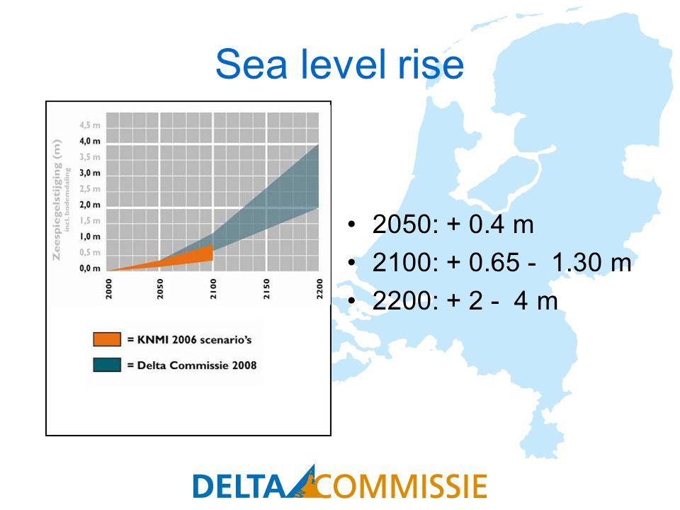 Sea level rise 2050: + 0.4 m 2100: + 0.65 - 1.30 m 2200: + 2 - 4 m