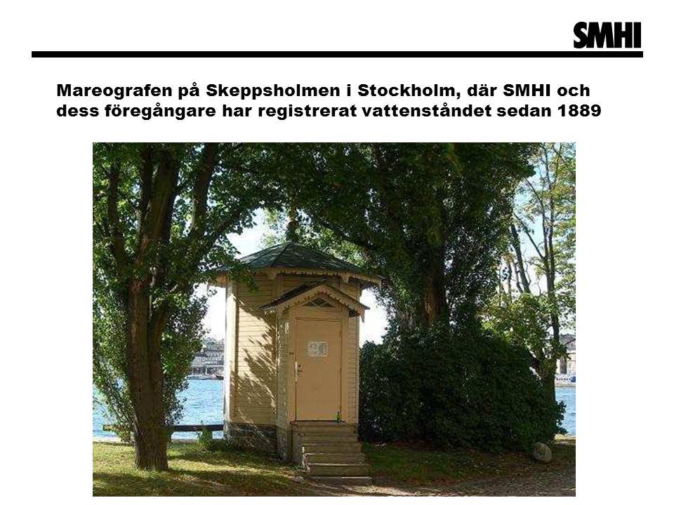 Mareografen på Skeppsholmen i Stockholm, där SMHI och dess föregångare har registrerat vattenståndet sedan 1889