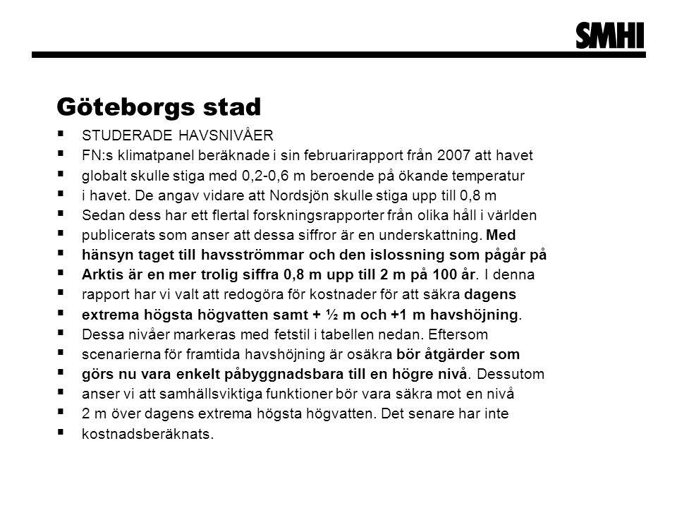 Göteborgs stad  STUDERADE HAVSNIVÅER  FN:s klimatpanel beräknade i sin februarirapport från 2007 att havet  globalt skulle stiga med 0,2-0,6 m bero