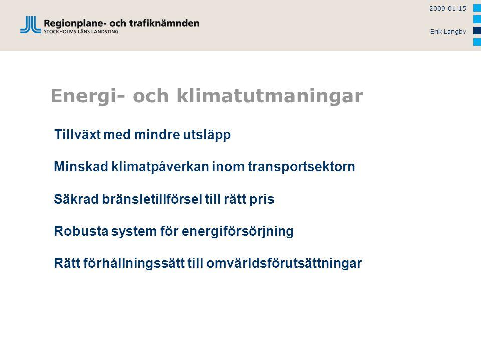 2009-01-15 Erik Langby Energi- och klimatutmaningar Tillväxt med mindre utsläpp Minskad klimatpåverkan inom transportsektorn Säkrad bränsletillförsel till rätt pris Robusta system för energiförsörjning Rätt förhållningssätt till omvärldsförutsättningar
