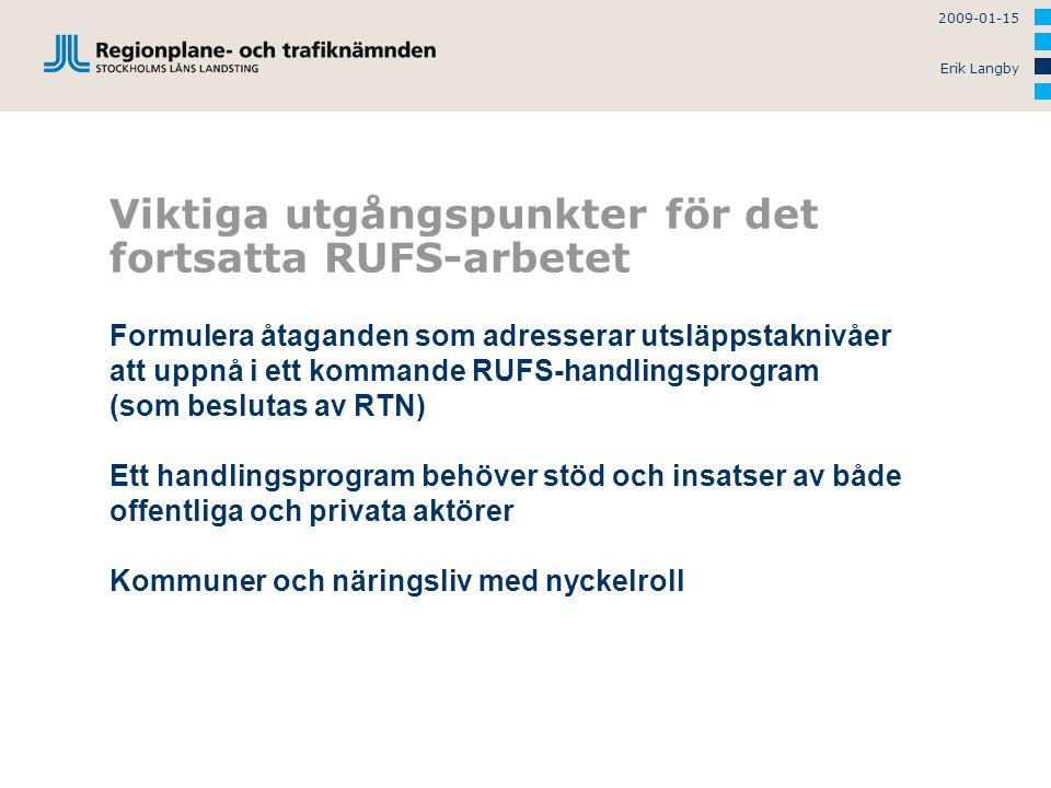 2009-01-15 Erik Langby Viktiga utgångspunkter för det fortsatta RUFS-arbetet Formulera åtaganden som adresserar utsläppstaknivåer att uppnå i ett kommande RUFS-handlingsprogram (som beslutas av RTN) Ett handlingsprogram behöver stöd och insatser av både offentliga och privata aktörer Kommuner och näringsliv med nyckelroll