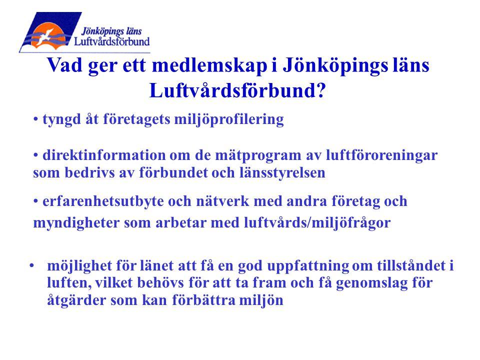 möjlighet för länet att få en god uppfattning om tillståndet i luften, vilket behövs för att ta fram och få genomslag för åtgärder som kan förbättra miljön Vad ger ett medlemskap i Jönköpings läns Luftvårdsförbund.