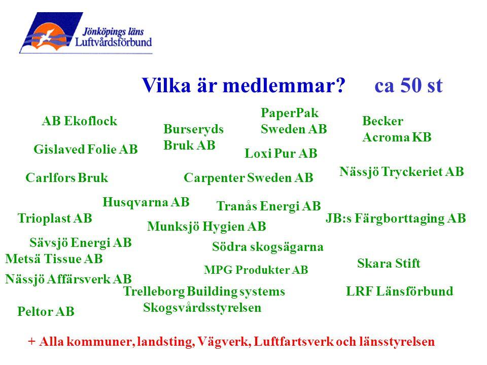 + Alla kommuner, landsting, Vägverk, Luftfartsverk och länsstyrelsen Vilka är medlemmar.