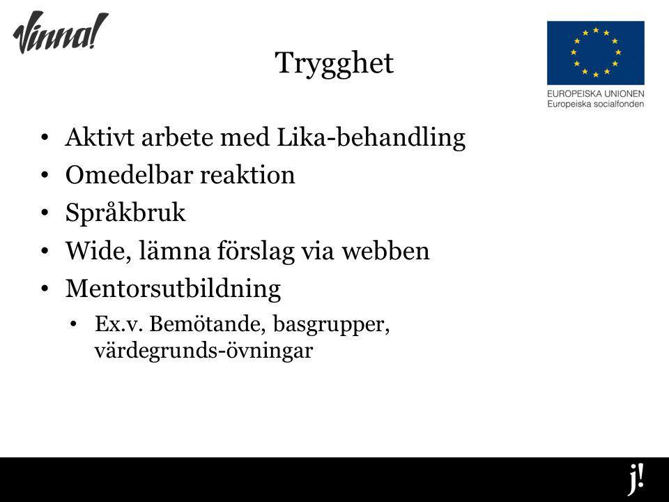 Trygghet Aktivt arbete med Lika-behandling Omedelbar reaktion Språkbruk Wide, lämna förslag via webben Mentorsutbildning Ex.v.