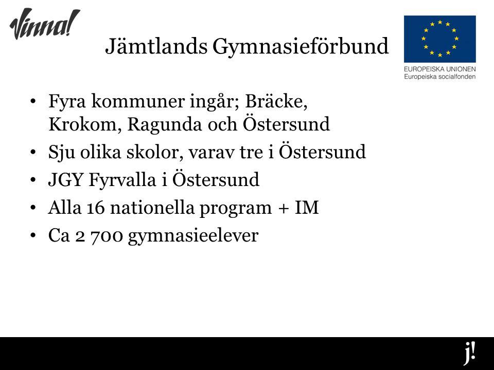 Jämtlands Gymnasieförbund Fyra kommuner ingår; Bräcke, Krokom, Ragunda och Östersund Sju olika skolor, varav tre i Östersund JGY Fyrvalla i Östersund Alla 16 nationella program + IM Ca 2 700 gymnasieelever