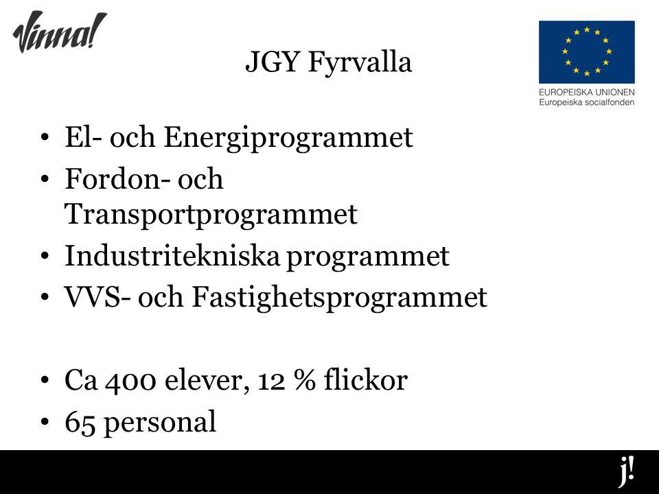 JGY Fyrvalla El- och Energiprogrammet Fordon- och Transportprogrammet Industritekniska programmet VVS- och Fastighetsprogrammet Ca 400 elever, 12 % flickor 65 personal