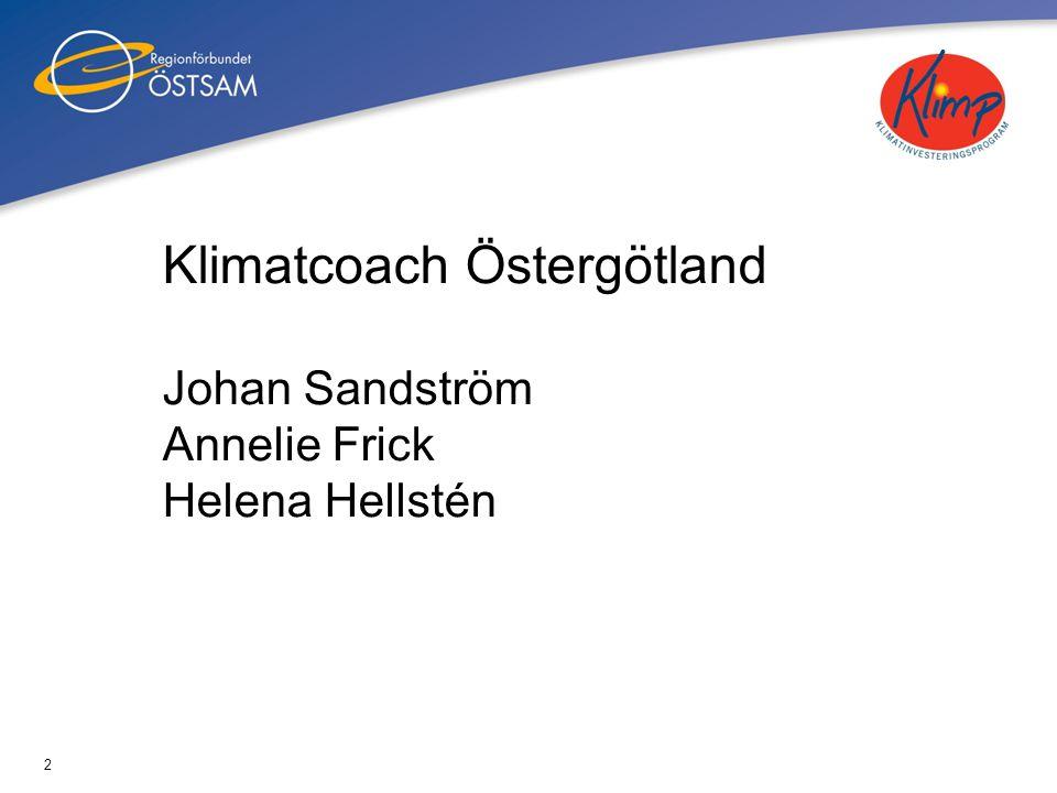 2 Klimatcoach Östergötland Johan Sandström Annelie Frick Helena Hellstén