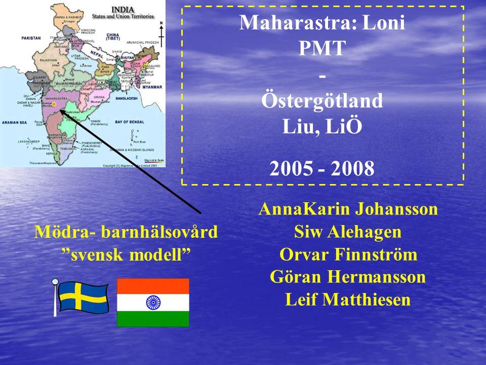 Maharastra: Loni PMT - Östergötland Liu, LiÖ 2005 - 2008 Mödra- barnhälsovård svensk modell AnnaKarin Johansson Siw Alehagen Orvar Finnström Göran Hermansson Leif Matthiesen