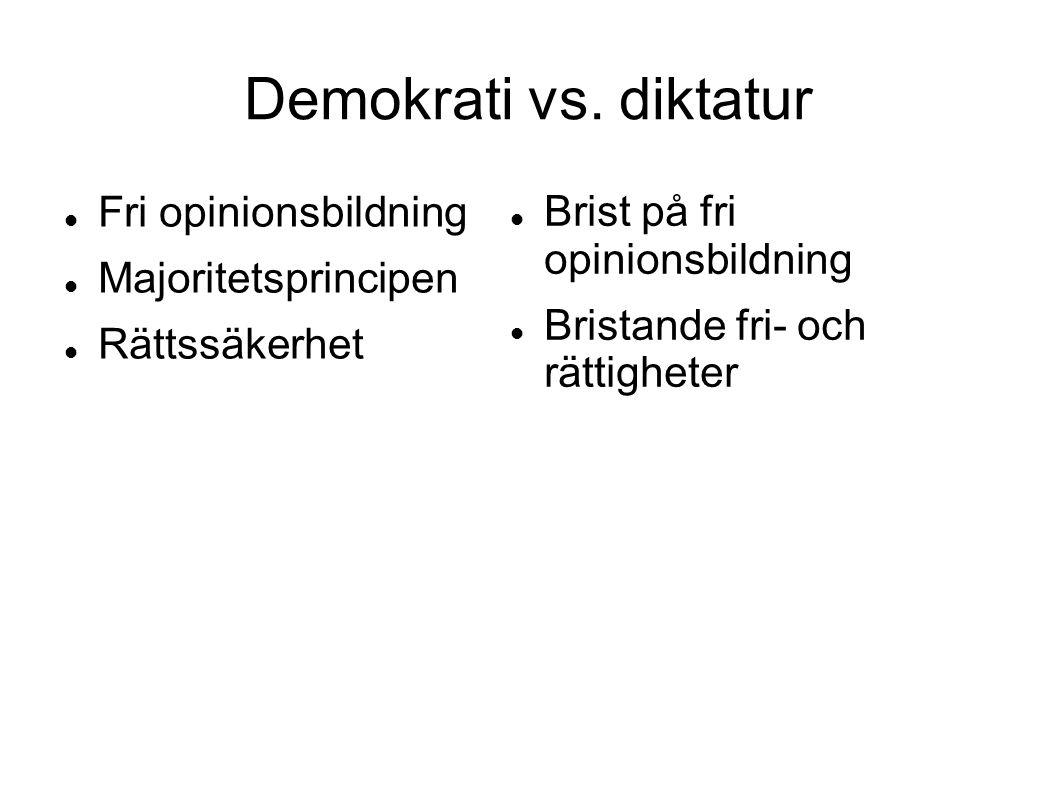 Demokrati vs. diktatur Fri opinionsbildning Majoritetsprincipen Rättssäkerhet Brist på fri opinionsbildning Bristande fri- och rättigheter