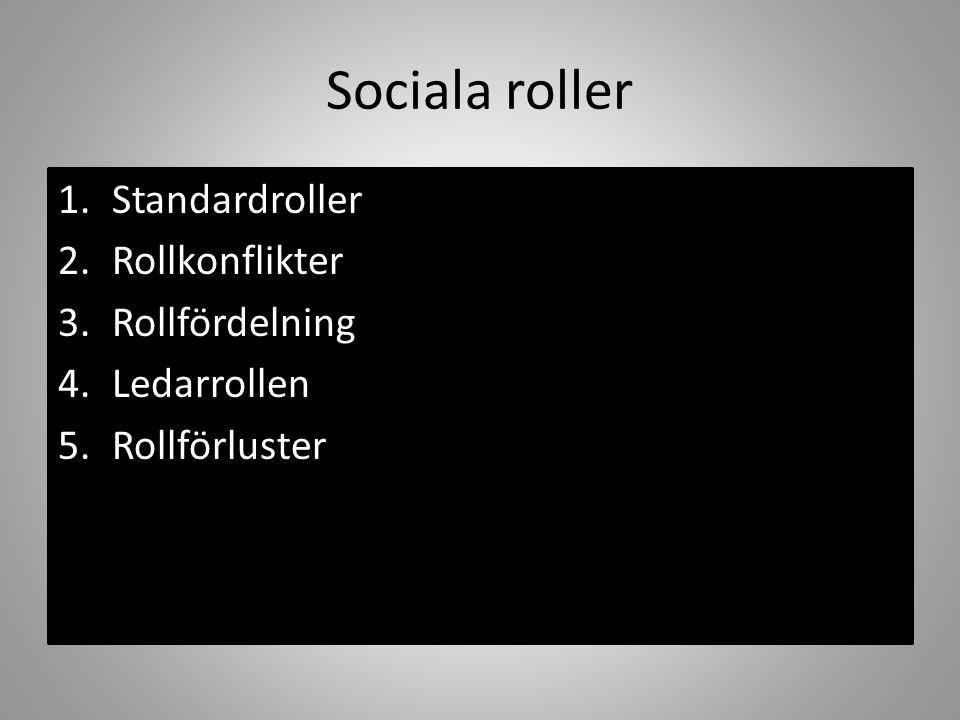 Sociala roller 1.Standardroller 2.Rollkonflikter 3.Rollfördelning 4.Ledarrollen 5.Rollförluster
