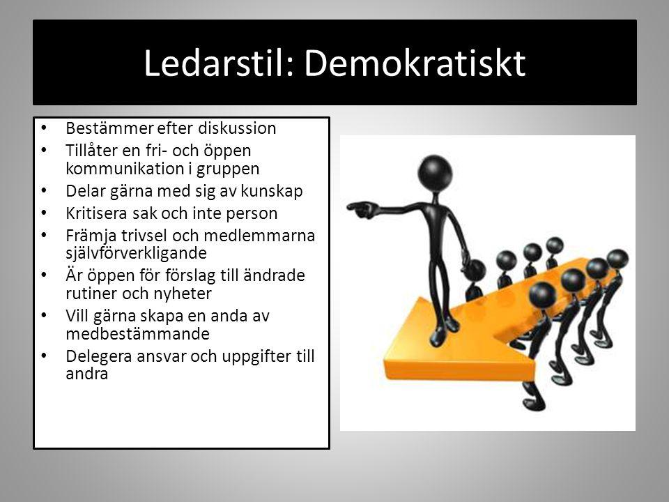 Ledarstil: Demokratiskt Bestämmer efter diskussion Tillåter en fri- och öppen kommunikation i gruppen Delar gärna med sig av kunskap Kritisera sak och