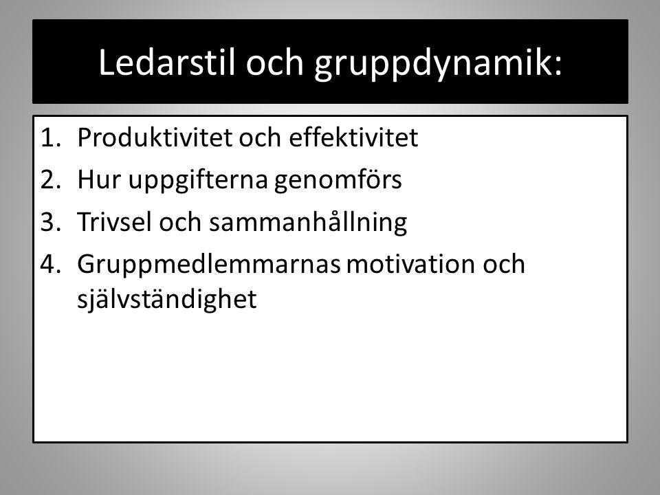 Ledarstil och gruppdynamik: 1.Produktivitet och effektivitet 2.Hur uppgifterna genomförs 3.Trivsel och sammanhållning 4.Gruppmedlemmarnas motivation och självständighet