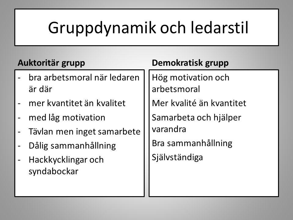 Gruppdynamik och ledarstil Auktoritär grupp -bra arbetsmoral när ledaren är där -mer kvantitet än kvalitet -med låg motivation -Tävlan men inget samarbete -Dålig sammanhållning -Hackkycklingar och syndabockar Demokratisk grupp Hög motivation och arbetsmoral Mer kvalité än kvantitet Samarbeta och hjälper varandra Bra sammanhållning Självständiga