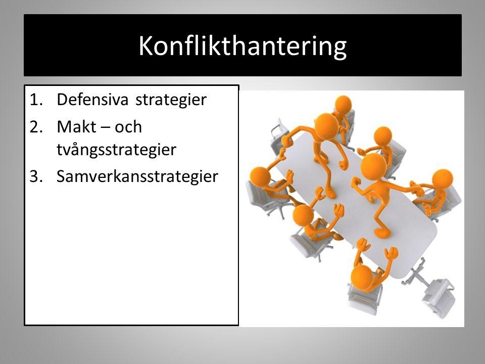 Konflikthantering 1.Defensiva strategier 2.Makt – och tvångsstrategier 3.Samverkansstrategier