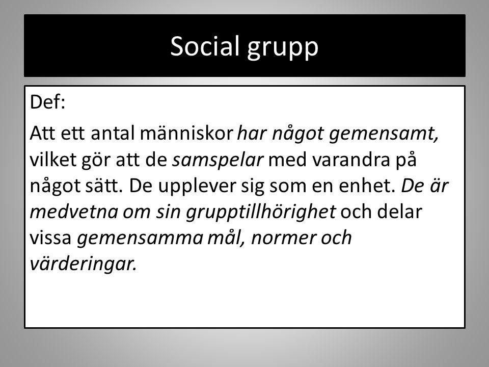 Social grupp Def: Att ett antal människor har något gemensamt, vilket gör att de samspelar med varandra på något sätt. De upplever sig som en enhet. D