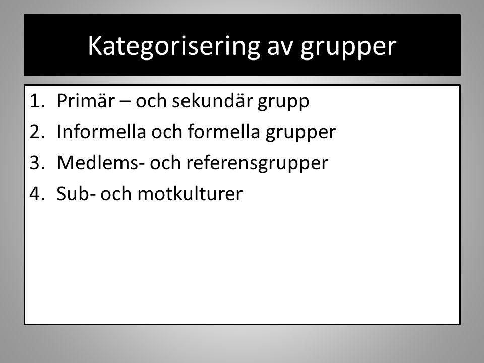Kategorisering av grupper 1.Primär – och sekundär grupp 2.Informella och formella grupper 3.Medlems- och referensgrupper 4.Sub- och motkulturer