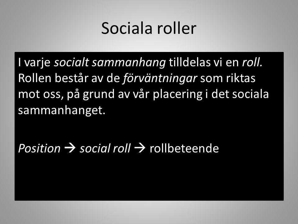 I varje socialt sammanhang tilldelas vi en roll. Rollen består av de förväntningar som riktas mot oss, på grund av vår placering i det sociala sammanh
