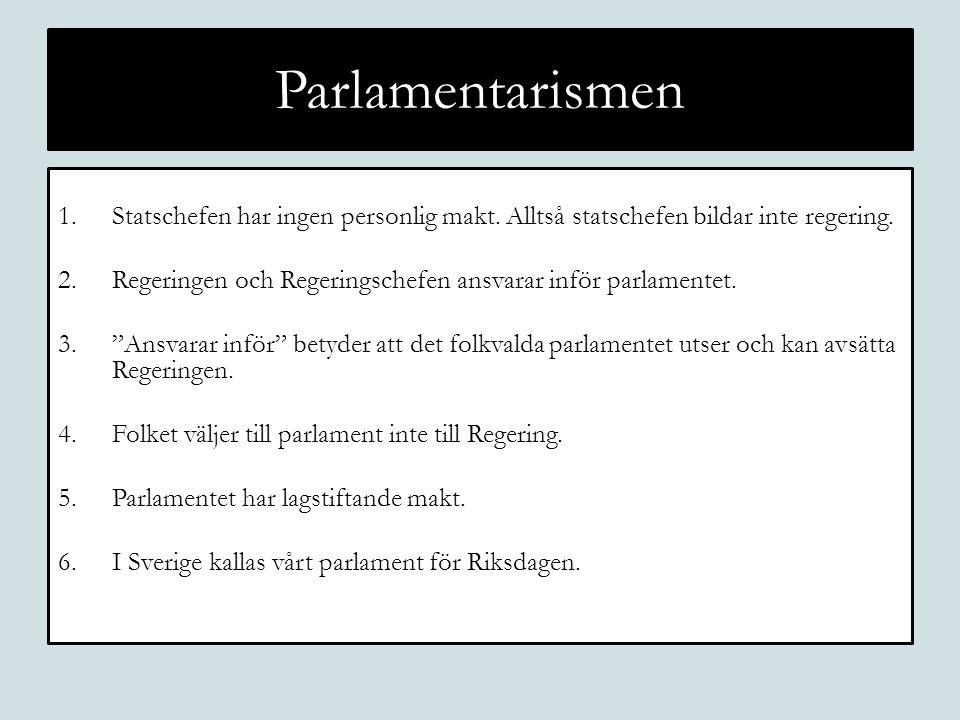 Parlamentarismen 1.Statschefen har ingen personlig makt. Alltså statschefen bildar inte regering. 2.Regeringen och Regeringschefen ansvarar inför parl