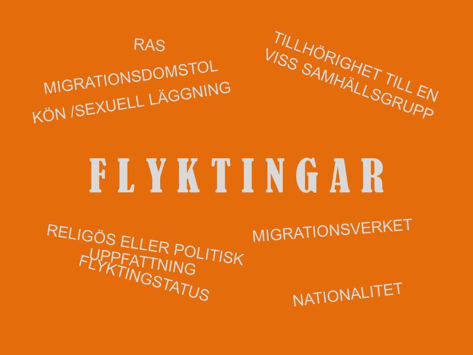 F L Y K T I N G A R RAS NATIONALITET RELIGÖS ELLER POLITISK UPPFATTNING KÖN /SEXUELL LÄGGNING TILLHÖRIGHET TILL EN VISS SAMHÄLLSGRUPP MIGRATIONSVERKET MIGRATIONSDOMSTOL FLYKTINGSTATUS