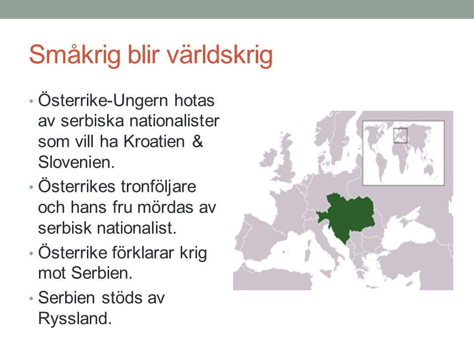 Småkrig blir världskrig Österrike-Ungern hotas av serbiska nationalister som vill ha Kroatien & Slovenien. Österrikes tronföljare och hans fru mördas