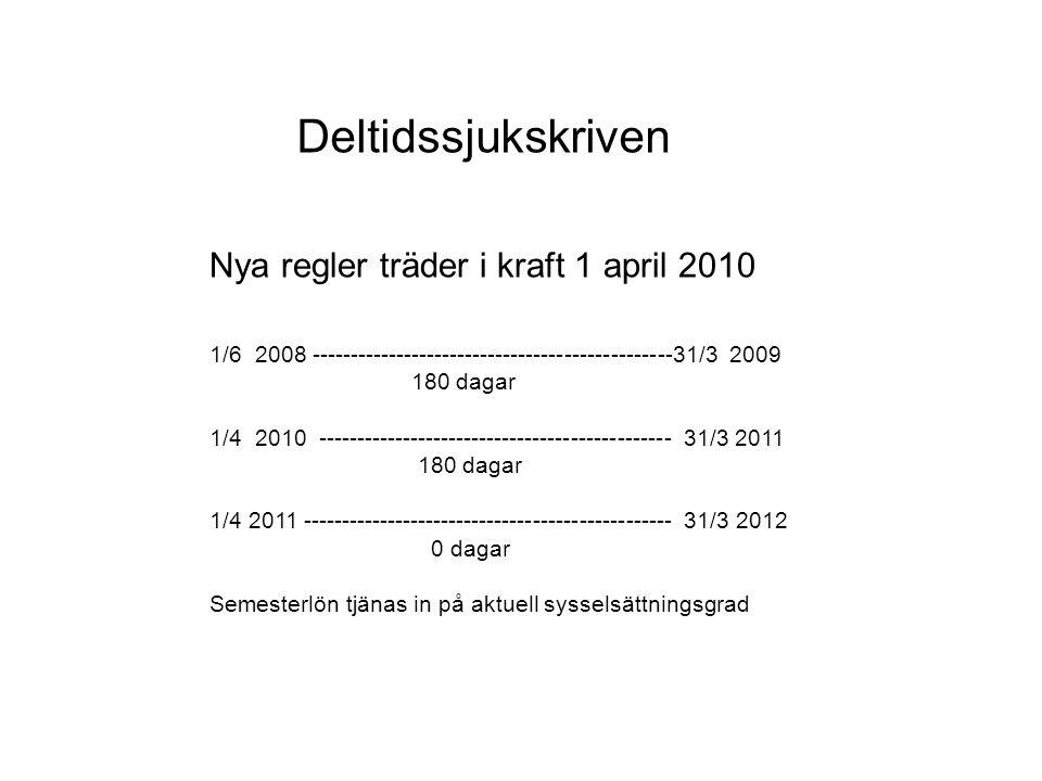 Deltidssjukskriven Nya regler träder i kraft 1 april 2010 1/6 2008 -----------------------------------------------31/3 2009 180 dagar 1/4 2010 -------