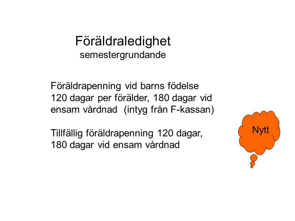 Föräldrapenning vid barns födelse 120 dagar per förälder, 180 dagar vid ensam vårdnad (intyg från F-kassan) Tillfällig föräldrapenning 120 dagar, 180