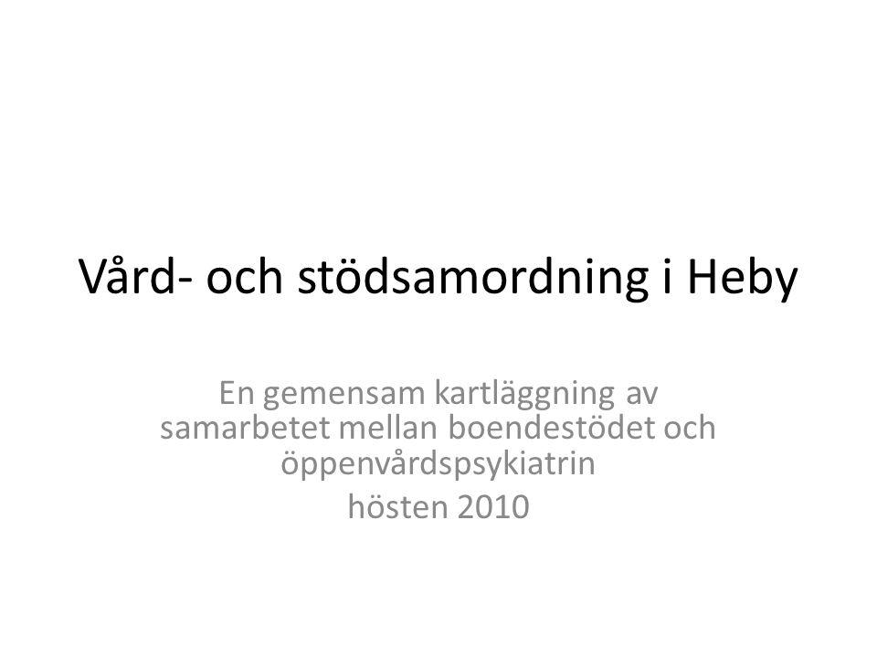 Vård- och stödsamordning i Heby En gemensam kartläggning av samarbetet mellan boendestödet och öppenvårdspsykiatrin hösten 2010