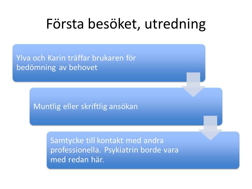 Första besöket, utredning Ylva och Karin träffar brukaren för bedömning av behovet Muntlig eller skriftlig ansökan Samtycke till kontakt med andra pro