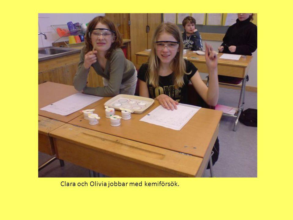 Clara och Olivia jobbar med kemiförsök.