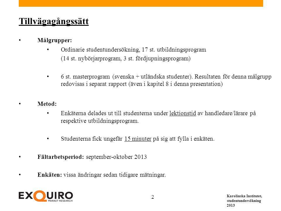 Karolinska Institutet, studentundersökning 2013 2 Tillvägagångssätt Målgrupper: Ordinarie studentundersökning, 17 st. utbildningsprogram (14 st. nybör