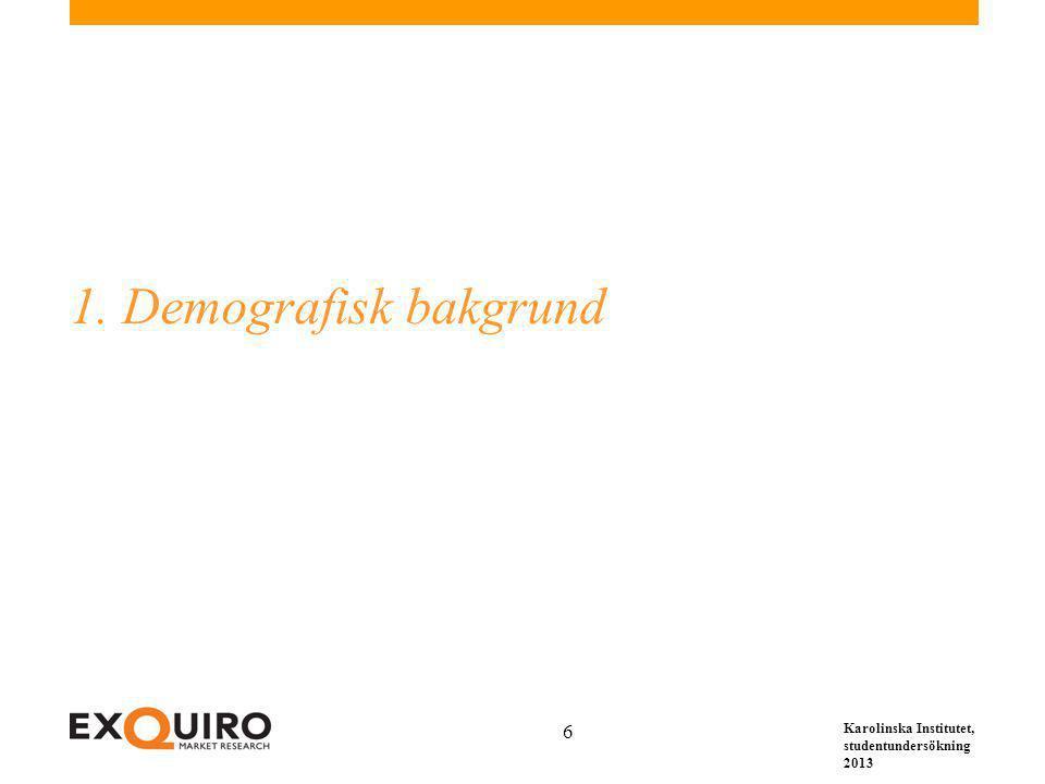Karolinska Institutet, studentundersökning 2013 6 1. Demografisk bakgrund