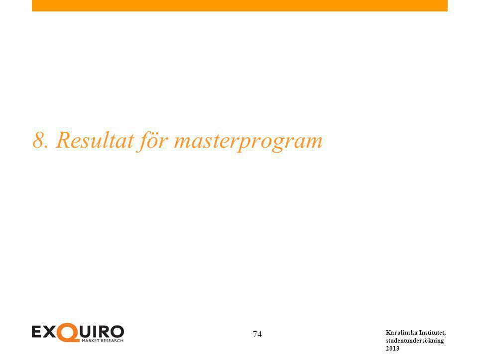 Karolinska Institutet, studentundersökning 2013 74 8. Resultat för masterprogram