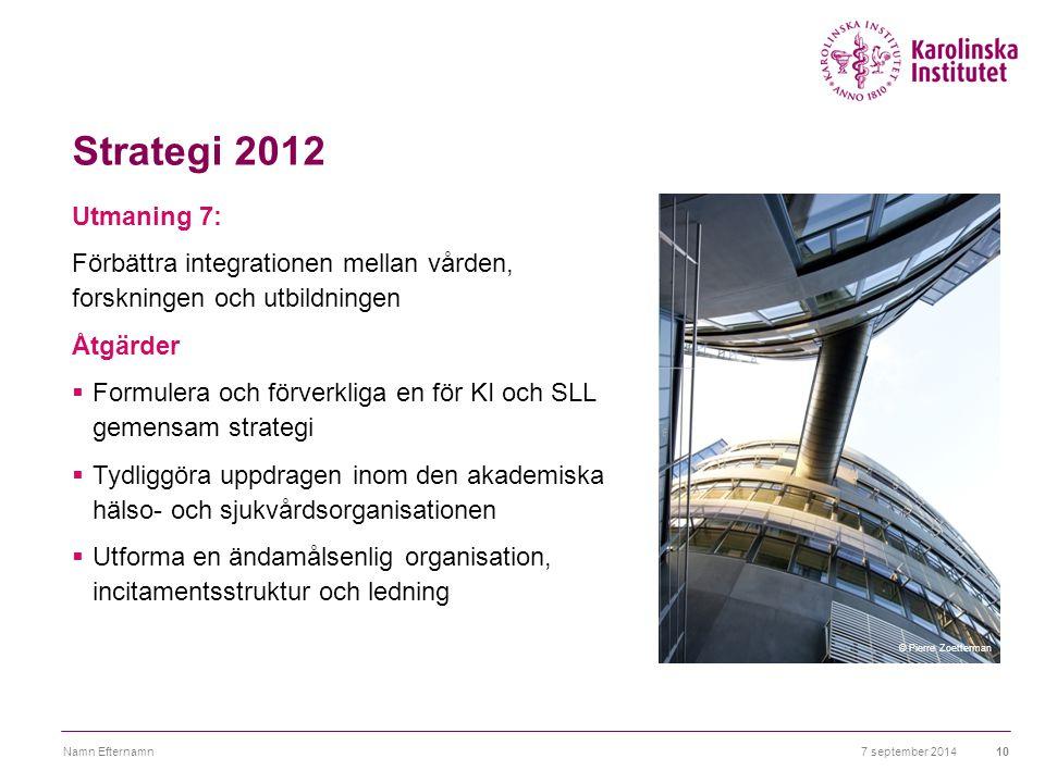 Strategi 2012 Utmaning 7: Förbättra integrationen mellan vården, forskningen och utbildningen Åtgärder  Formulera och förverkliga en för KI och SLL g