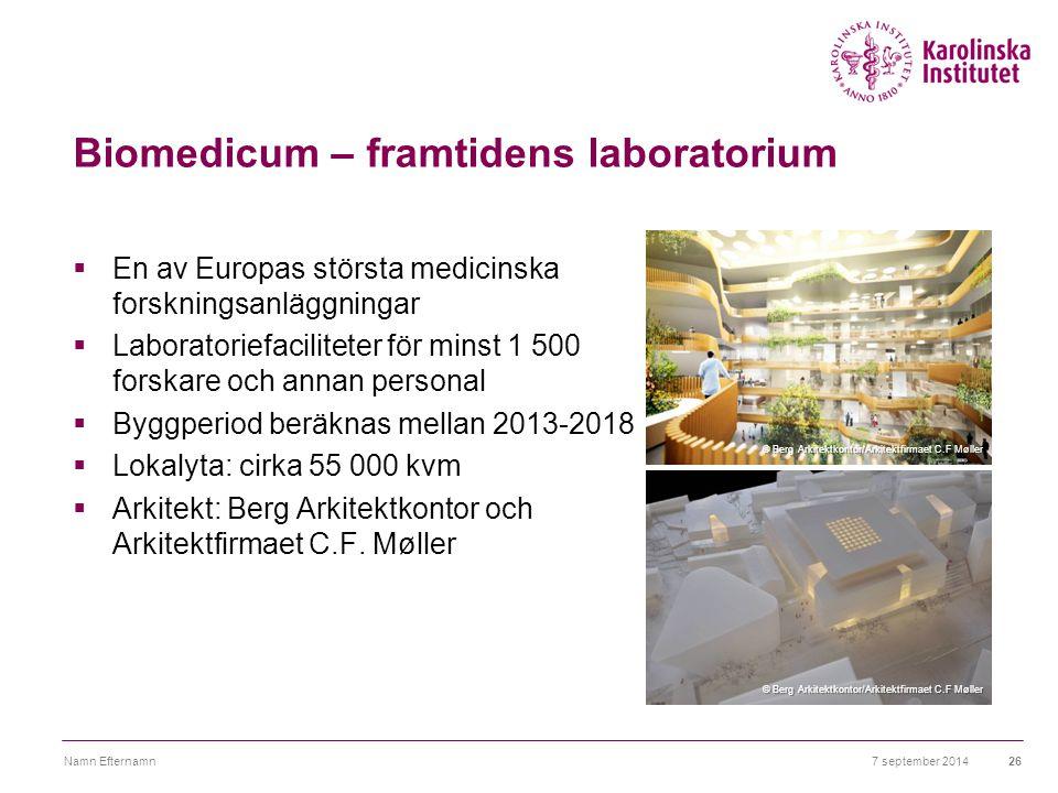 Biomedicum – framtidens laboratorium  En av Europas största medicinska forskningsanläggningar  Laboratoriefaciliteter för minst 1 500 forskare och a
