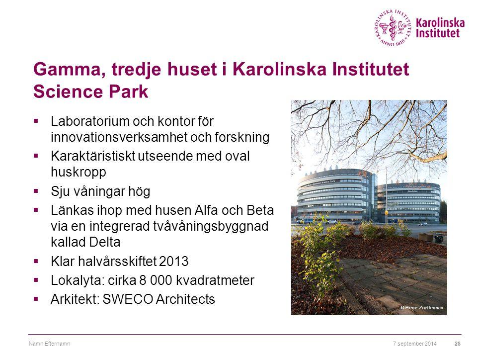 Gamma, tredje huset i Karolinska Institutet Science Park  Laboratorium och kontor för innovationsverksamhet och forskning  Karaktäristiskt utseende