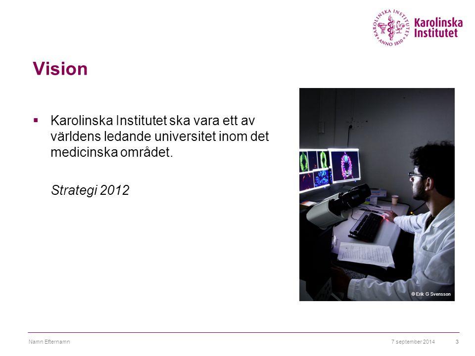 Vision  Karolinska Institutet ska vara ett av världens ledande universitet inom det medicinska området. Strategi 2012 7 september 2014Namn Efternamn3