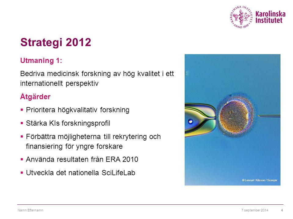 Strategi 2012 Utmaning 1: Bedriva medicinsk forskning av hög kvalitet i ett internationellt perspektiv Åtgärder  Prioritera högkvalitativ forskning 
