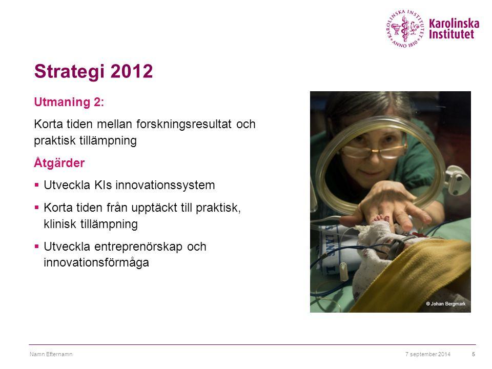Strategi 2012 Utmaning 2: Korta tiden mellan forskningsresultat och praktisk tillämpning Åtgärder  Utveckla KIs innovationssystem  Korta tiden från