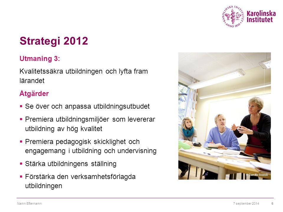 Strategi 2012 Utmaning 3: Kvalitetssäkra utbildningen och lyfta fram lärandet Åtgärder  Se över och anpassa utbildningsutbudet  Premiera utbildnings