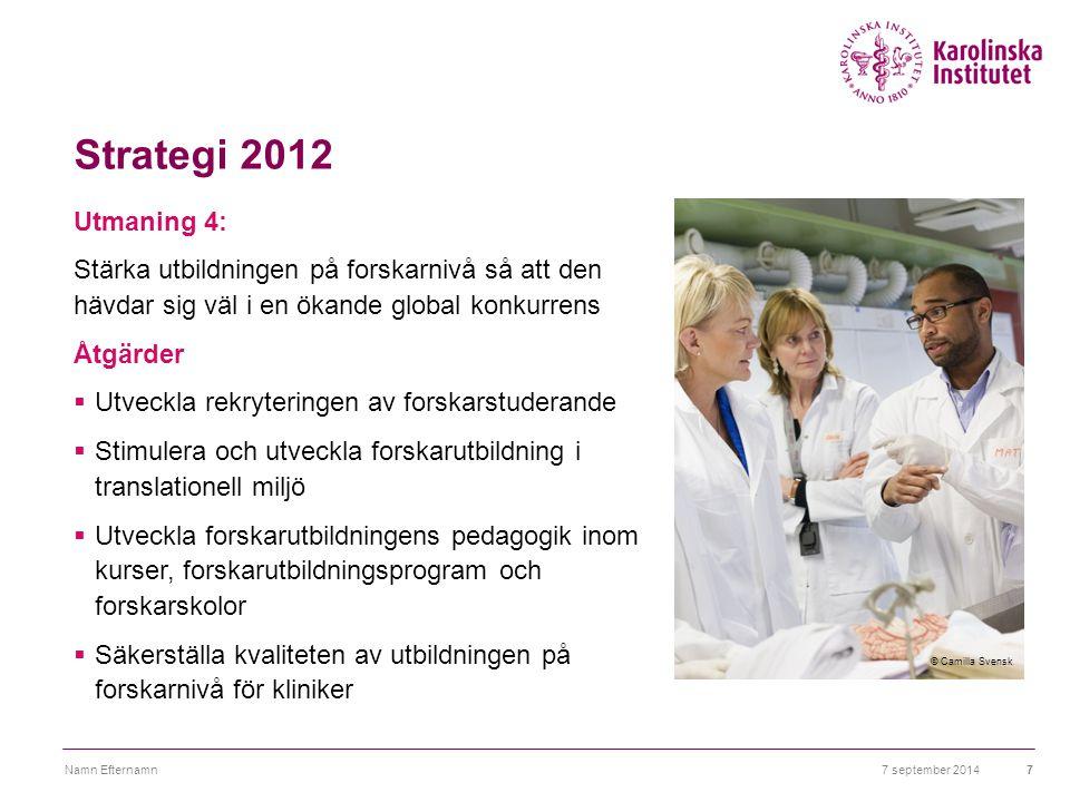 Strategi 2012 Utmaning 5: Stärka ledarskapet för att åstadkomma en effektiv verksamhet och konkurrenskraftiga miljöer Åtgärder  Utveckla en strategisk ledarförsörjning  Förbättra och utveckla kvaliteten i ledarskapet  Förbättra kommunikationsflödet 7 september 2014Namn Efternamn8 © Camilla Svensk