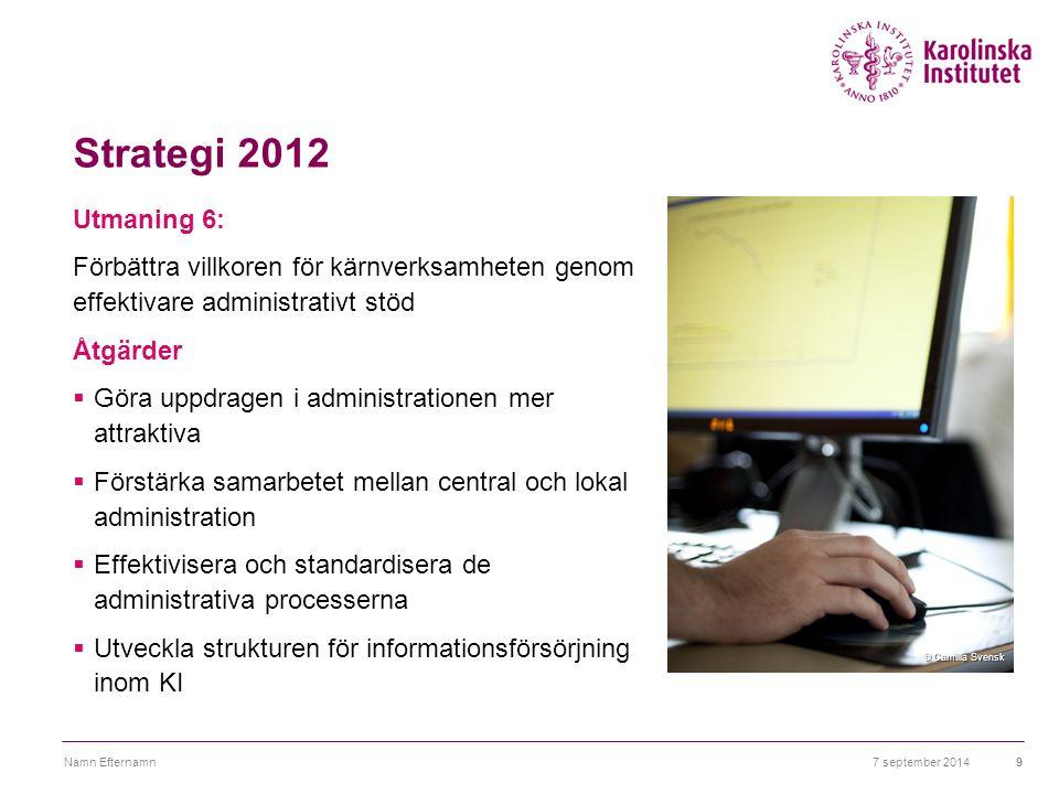 Strategi 2012 Utmaning 6: Förbättra villkoren för kärnverksamheten genom effektivare administrativt stöd Åtgärder  Göra uppdragen i administrationen