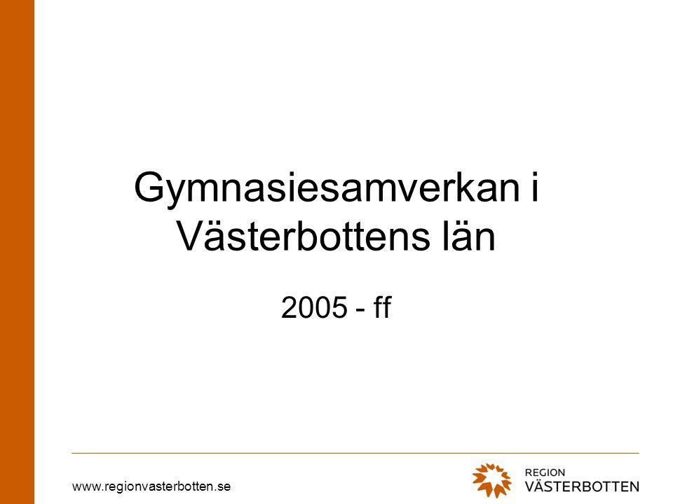 www.regionvasterbotten.se Gymnasiesamverkan i Västerbottens län 2005 - ff