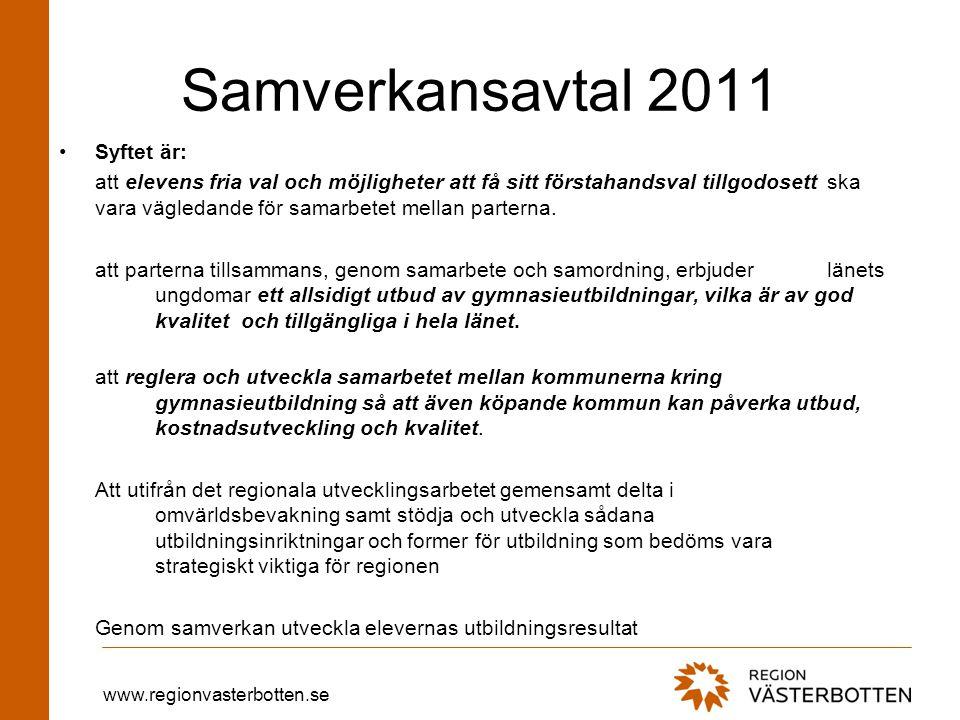 www.regionvasterbotten.se Samverkansavtal 2011 Syftet är: att elevens fria val och möjligheter att få sitt förstahandsval tillgodosett ska vara vägledande för samarbetet mellan parterna.