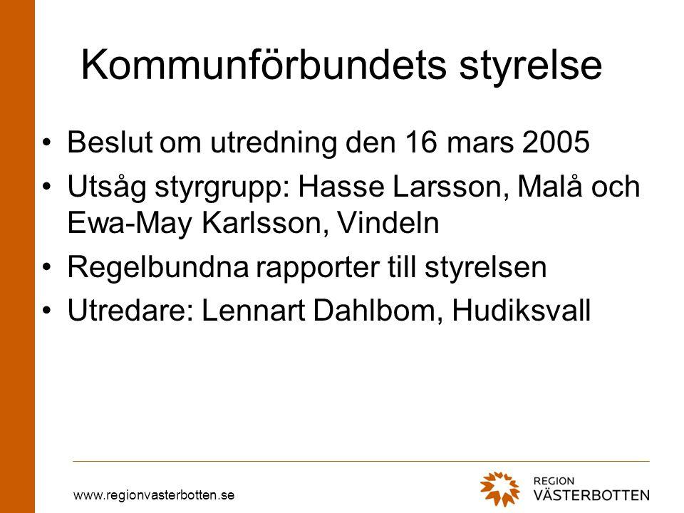 www.regionvasterbotten.se Kommunförbundets styrelse Beslut om utredning den 16 mars 2005 Utsåg styrgrupp: Hasse Larsson, Malå och Ewa-May Karlsson, Vindeln Regelbundna rapporter till styrelsen Utredare: Lennart Dahlbom, Hudiksvall