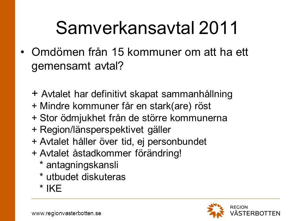 www.regionvasterbotten.se Samverkansavtal 2011 Omdömen från 15 kommuner om att ha ett gemensamt avtal.
