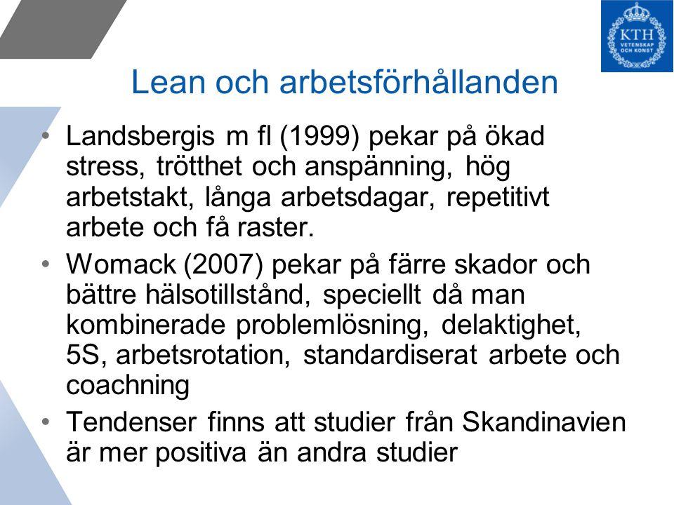 Lean och arbetsförhållanden Landsbergis m fl (1999) pekar på ökad stress, trötthet och anspänning, hög arbetstakt, långa arbetsdagar, repetitivt arbete och få raster.