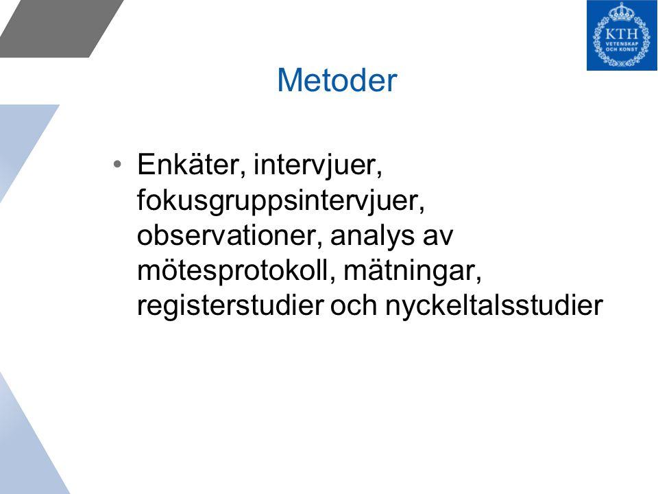 Metoder Enkäter, intervjuer, fokusgruppsintervjuer, observationer, analys av mötesprotokoll, mätningar, registerstudier och nyckeltalsstudier