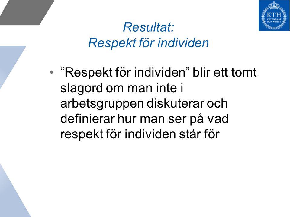 Resultat: Respekt för individen Respekt för individen blir ett tomt slagord om man inte i arbetsgruppen diskuterar och definierar hur man ser på vad respekt för individen står för