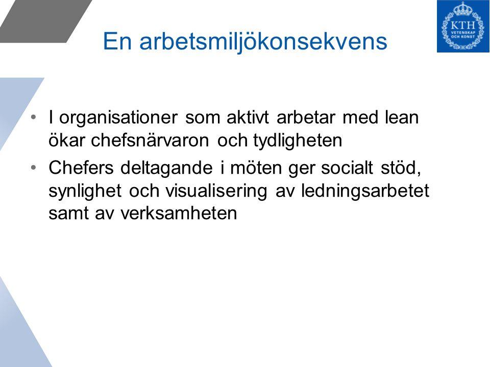 En arbetsmiljökonsekvens I organisationer som aktivt arbetar med lean ökar chefsnärvaron och tydligheten Chefers deltagande i möten ger socialt stöd, synlighet och visualisering av ledningsarbetet samt av verksamheten